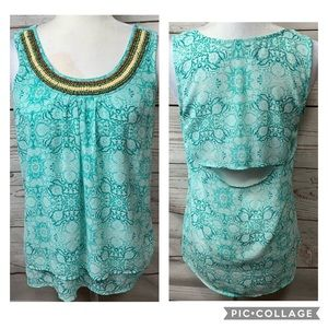 NWOT Maurices Beaded Floral Peep Hole Tank Top